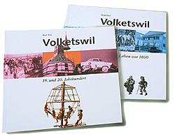 Die 2 Bände des Geschichtsbücher der Gemeinde Volketswil